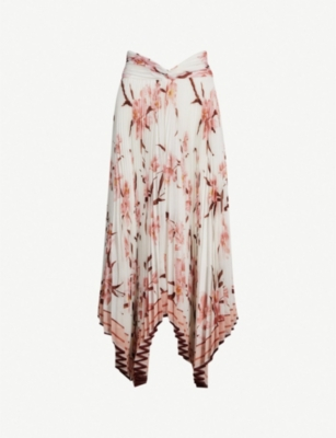 ZIMMERMANN Floral-print crepe pleated skirt