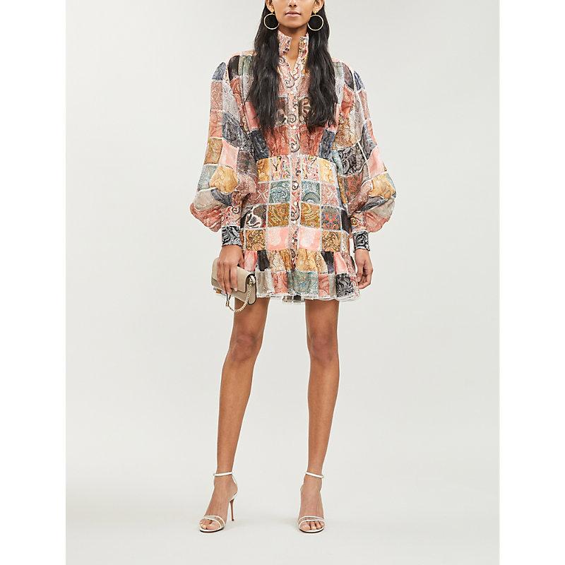 Zimmermann Dresses PATCHWORK LINEN AND SILK-BLEND DRESS