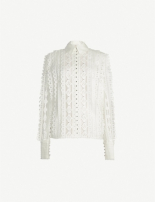 ZIMMERMANN Moncur Studded cotton, linen and silk-blend lace shirt