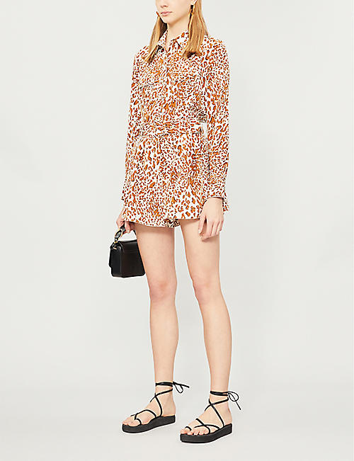 ZIMMERMANN Buckled high-rise printed silk-crepe shorts