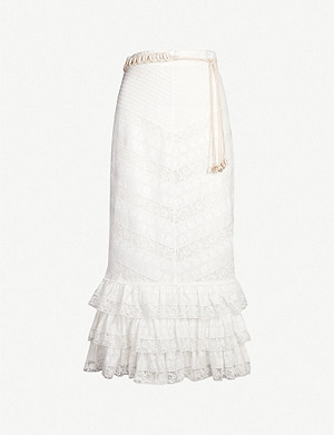 ZIMMERMANN Veneto ruffled lace midi skirt