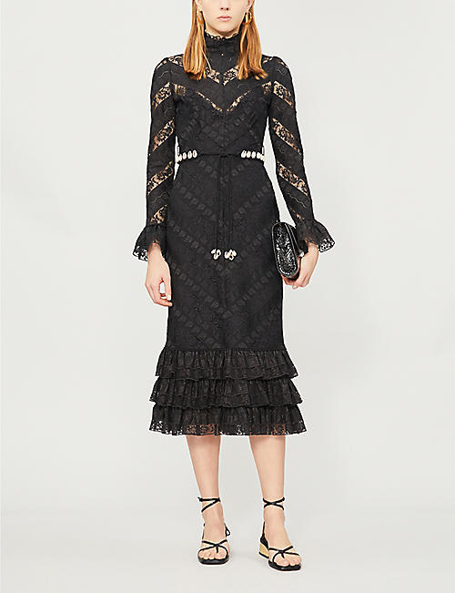 ZIMMERMANN Shell-embellished ruffled lace midi dress