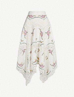 ZIMMERMANN Allia floral and lace insert linen and cotton-blend cotton skirt