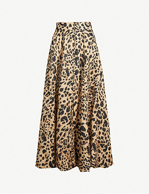 ZIMMERMANN Flared high-waist leopard-print linen midi skirt