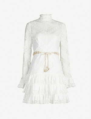 ZIMMERMANN Veneto high-neck stretch-lace dress