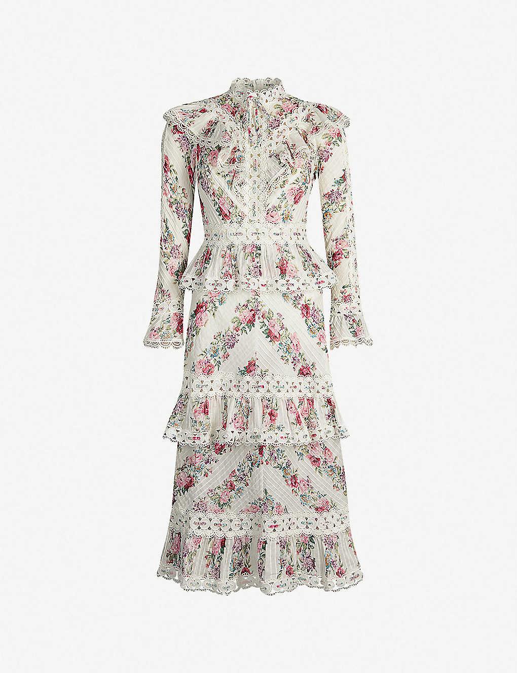 43934285da ZIMMERMANN - Honour floral-patterned cotton midi dress   Selfridges.com
