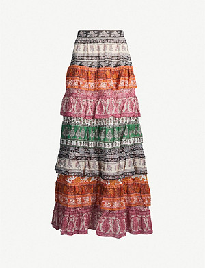 ZIMMERMANN Amari cotton-and-silk blend crepe midi skirt