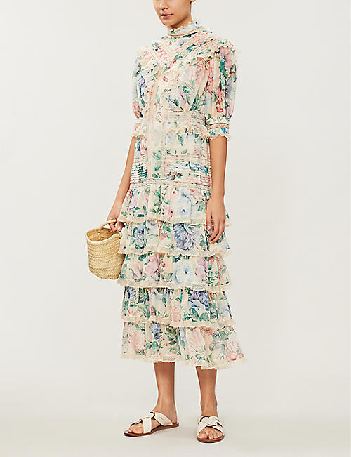 ZIMMERMANN Verity floral-printed ruffled cotton and silk-blend dress