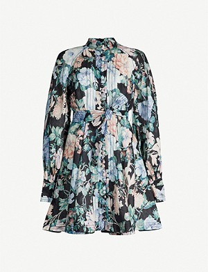 ZIMMERMANN Verity floral-print long-sleeved linen mini dress