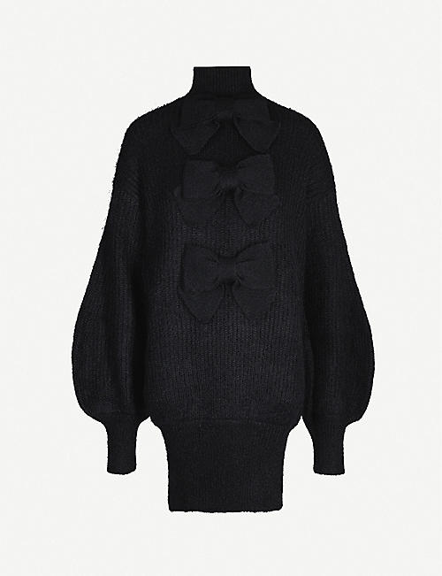 ZIMMERMANN Resistance bow-detail turtleneck knitted dress