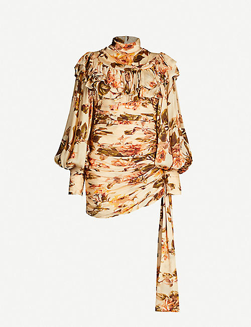 ZIMMERMANN Floral-print silk-satin dress