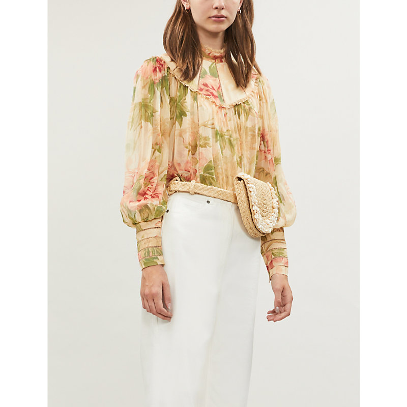 cb8fc860cf5 Zimmermann Espionage High-Neck Bishop-Sleeve Floral-Print Silk Blouse In  Antique Peony