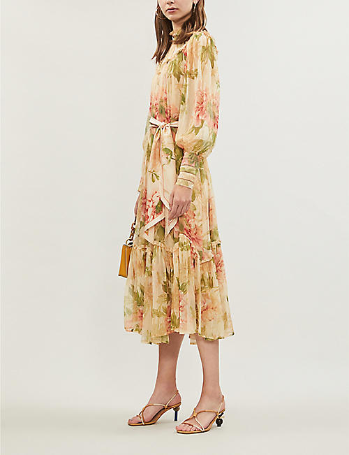 ce3ad376fb1 ZIMMERMANN Espionage high-neck bishop-sleeve floral-print crepe midi dress