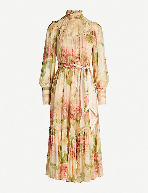 ZIMMERMANN Espionage high-neck bishop-sleeve floral-print crepe midi dress