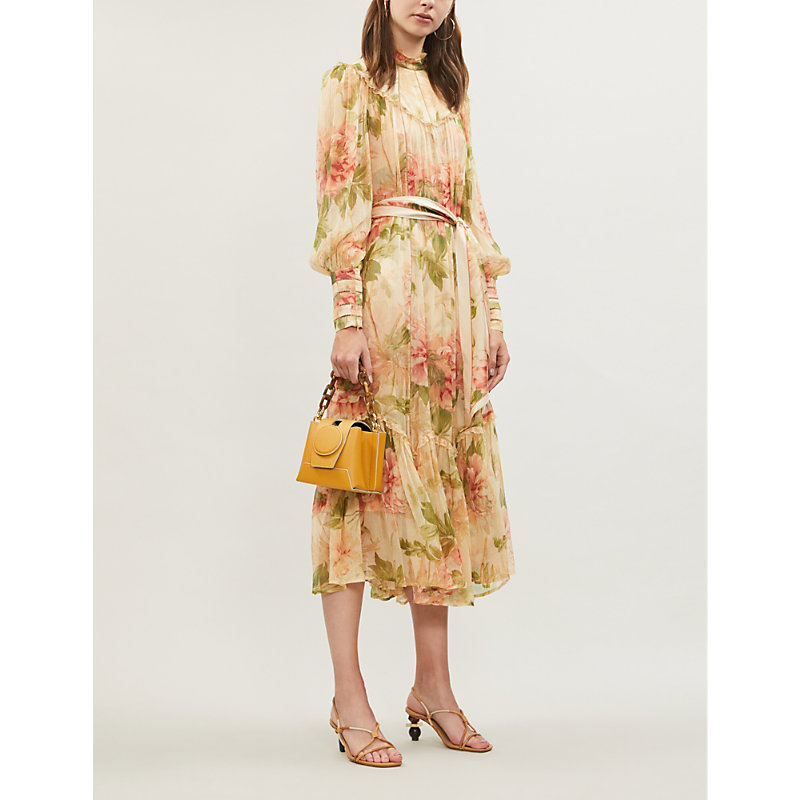 075bdf0cd05 Zimmermann Espionage High-Neck Bishop-Sleeve Floral-Print Crepe Midi Dress  In Antique