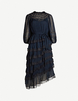 ZIMMERMANN Sabotage asymmetric ruffled stretch-lace midi dress
