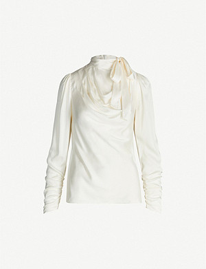 ZIMMERMANN Espionage tied-neck stretch-silk blouse