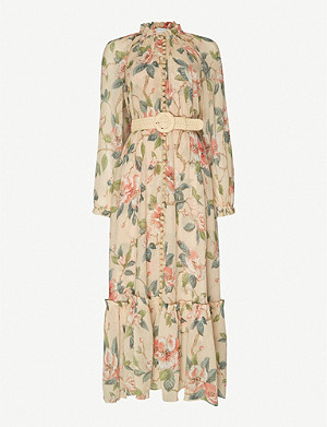 ZIMMERMANN Kirra belted floral-print cotton and silk-blend midi dress