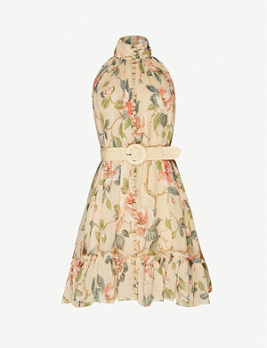 ZIMMERMANN Kirra belted floral-print cotton and silk-blend mini dress