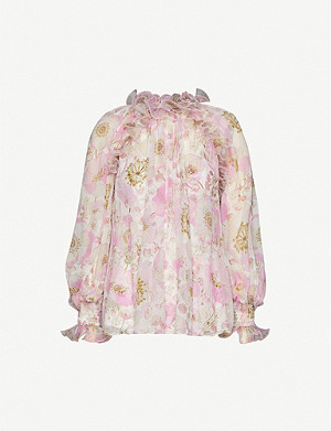 ZIMMERMANN Super Eight floral-print silk-blend crepe blouse
