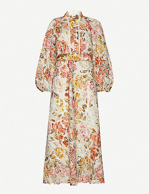 ZIMMERMANN Bonita floral-print linen and cotton-blend midi dress