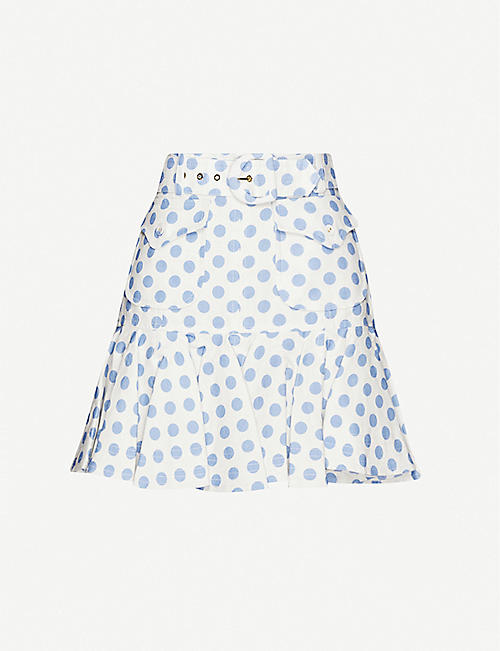 ZIMMERMANN: Super Eight polka-dot linen skirt