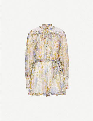 ZIMMERMANN: Super Eight floral-print embroidered silk-crepe playsuit