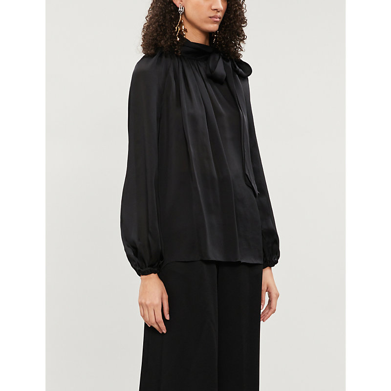 Zimmermann Pussy-Bow Silk-Crepe De Chine Blouse In Black