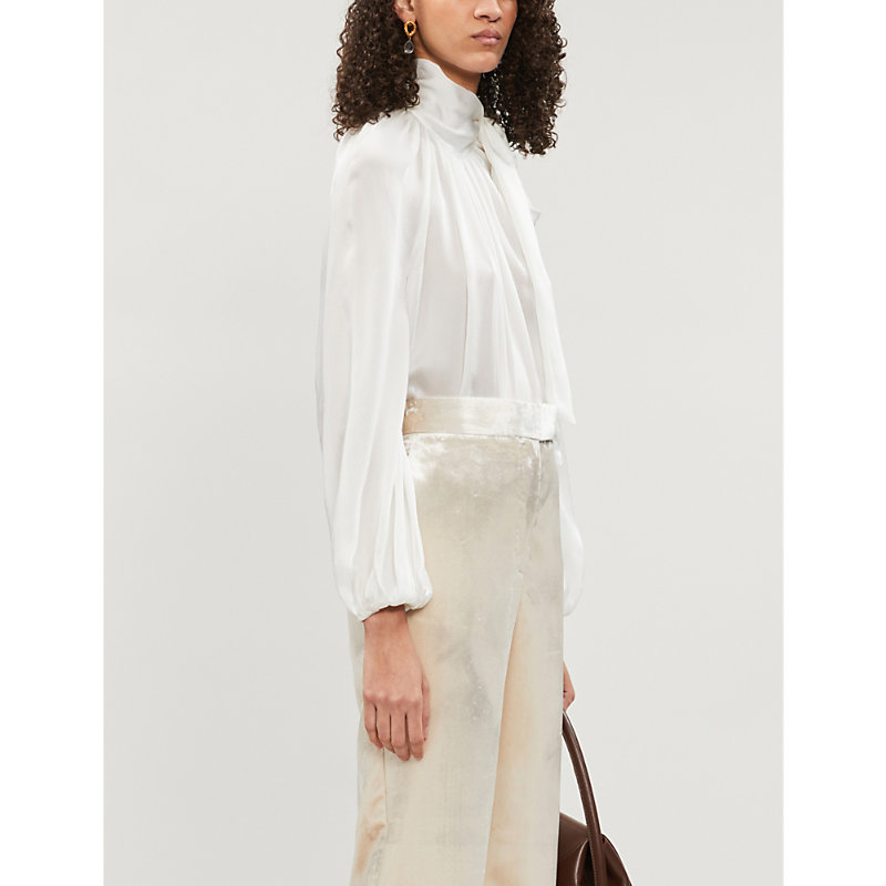Zimmermann Pussy-Bow Silk-Crepe De Chine Blouse In Ivory