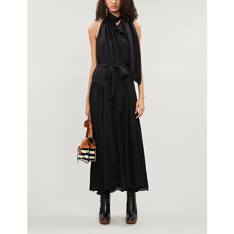 Zimmermann Sleeveless Silk-Crepe De Chine Midi Dress In Black