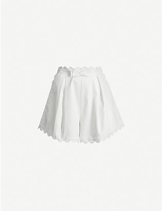 ZIMMERMANN: Super Eight high-rise scalloped-trim cotton-piqu? shorts