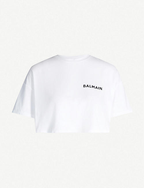 BALMAIN Logo-print cropped cotton-jersey top