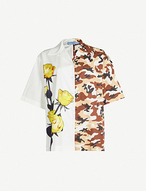 PRADA Camouflage-print and floral-print cotton-poplin shirt
