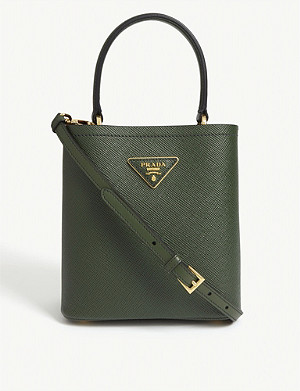 PRADA Spazzolato grained leather bucket tote