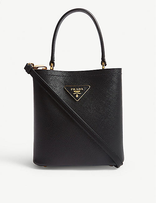 PRADA: Mini leather bucket bag