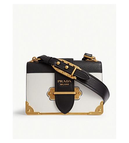 66cae797b8a2 PRADA Cahier leather shoulder bag (White black