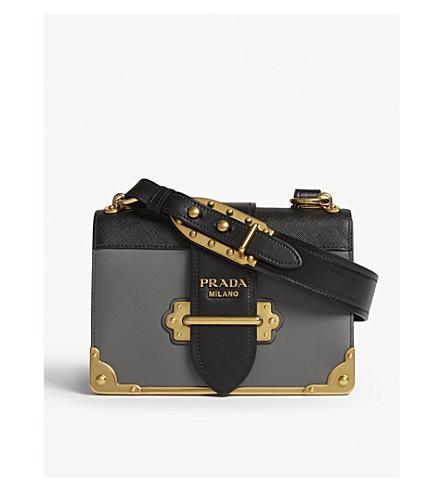 39436d10e38a PRADA Cahier leather shoulder bag (Grey black