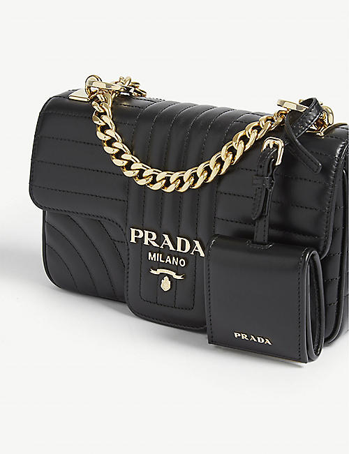 PRADA Diagramme leather shoulder bag