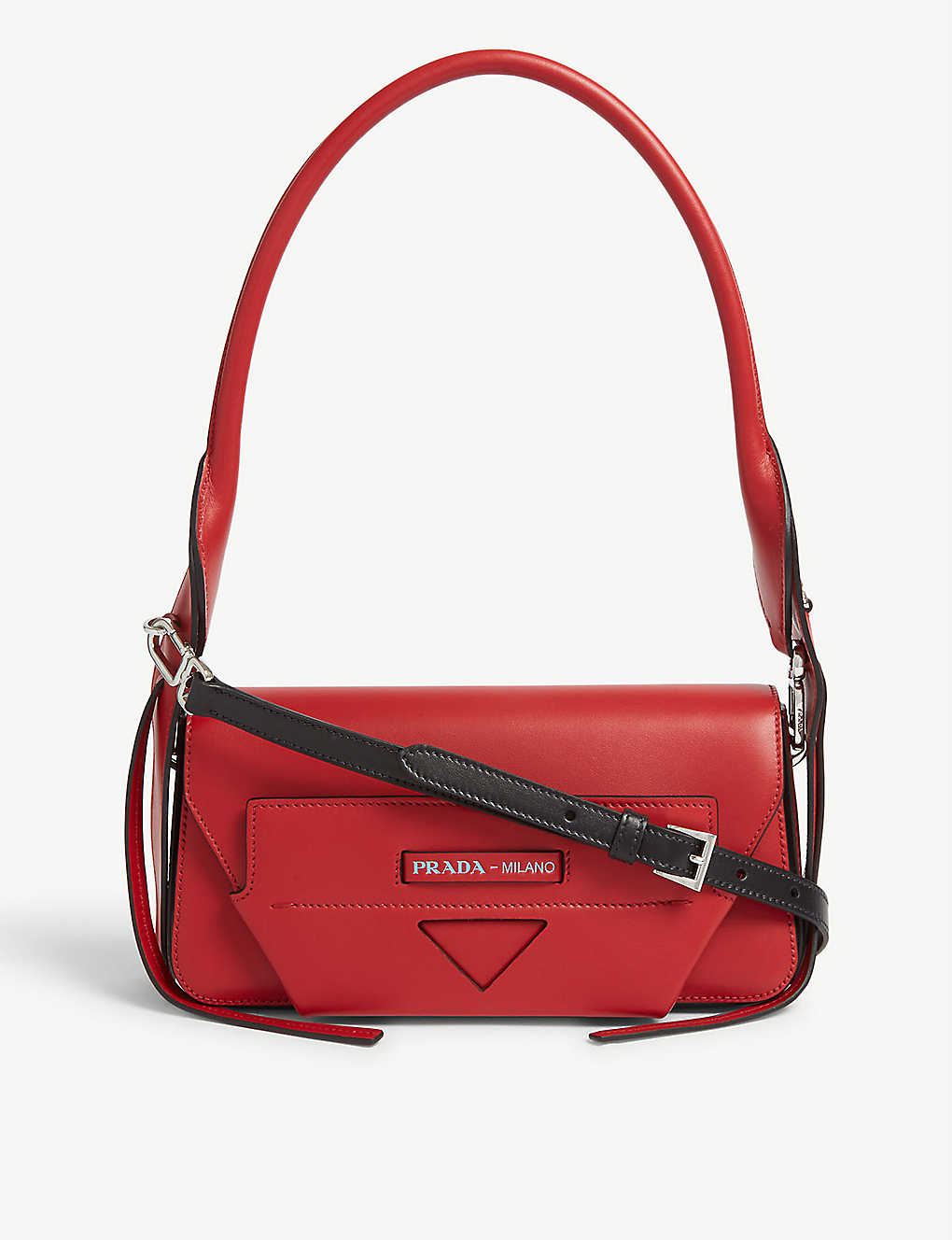 PRADA: Logo leather shoulder bag