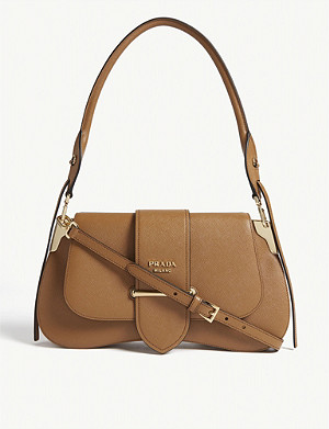 PRADA Sidney leather saddle bag