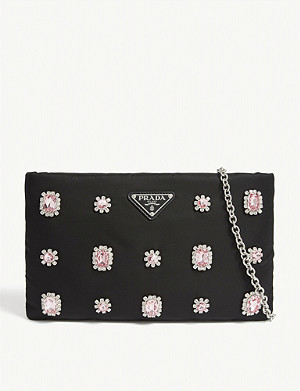 PRADA Crystal jewelled nylon pouch