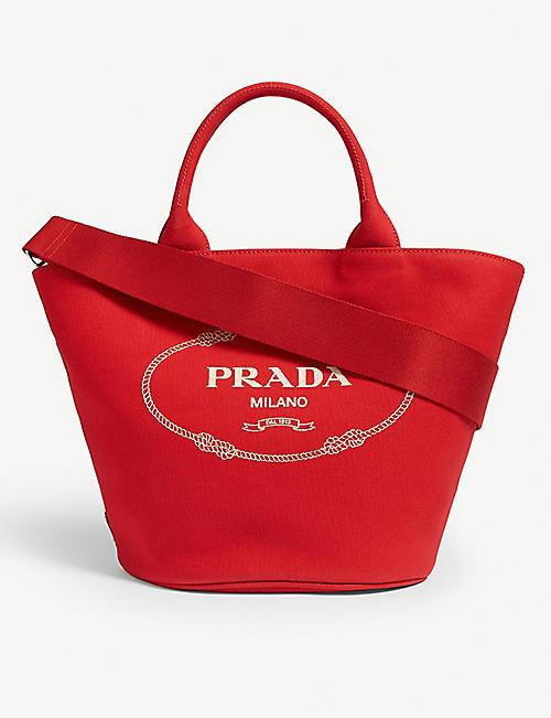 ab23854550fa Leather handbag. £2170.00. PRADA Canvas small tote