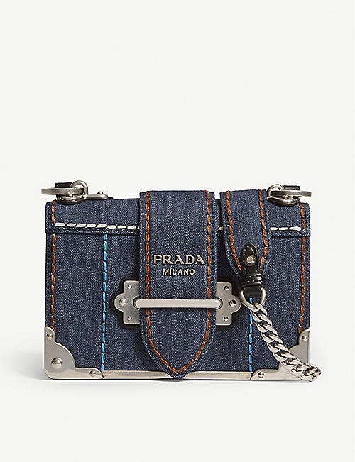 PRADA Cahier denim mini shoulder bag