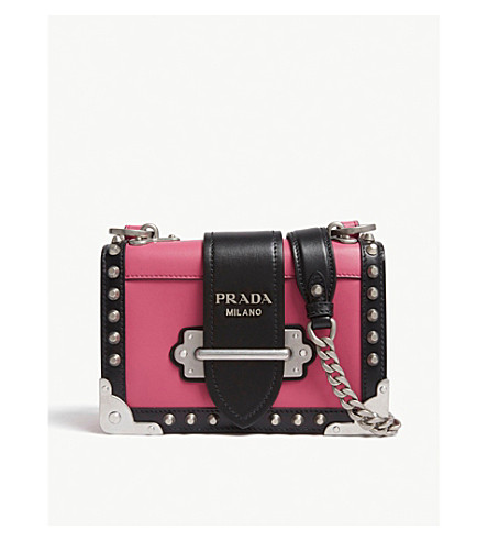 c92f2fd36ccde PRADA Cahier small leather shoulder bag (Pink black