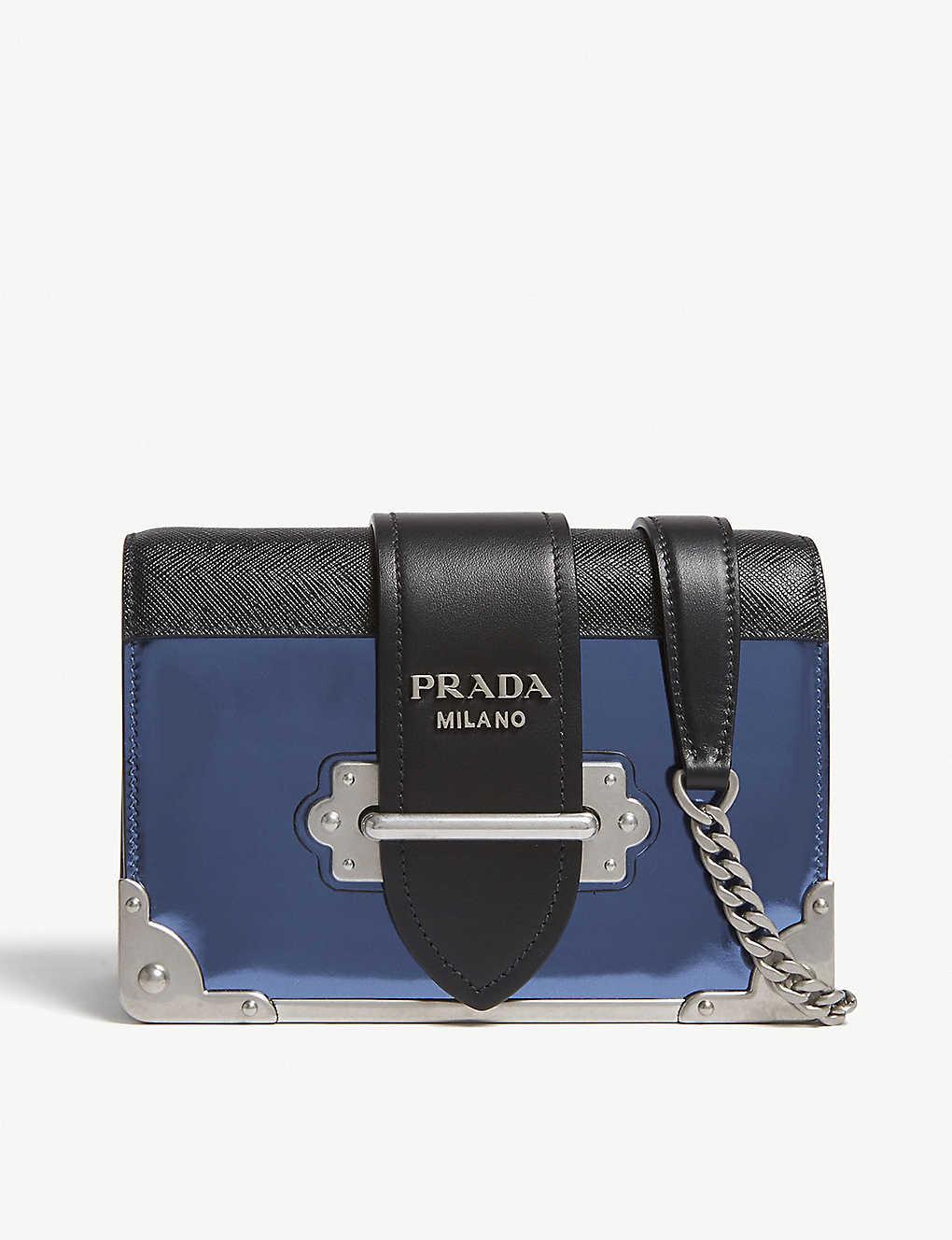162ffbd1f7f2 PRADA - Cahier small metallic leather shoulder bag | Selfridges.com