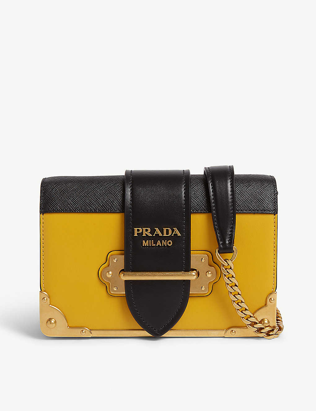 92e54ad6bd88 PRADA - Mini Cahier leather shoulder bag | Selfridges.com
