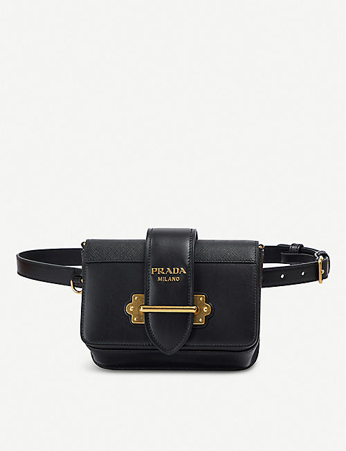 74da885bf51f PRADA Cahier logo-plaque leather belt bag