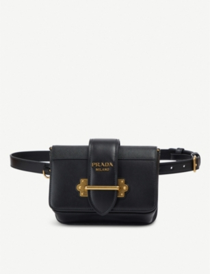 PRADA Cahier logo-plaque leather belt bag