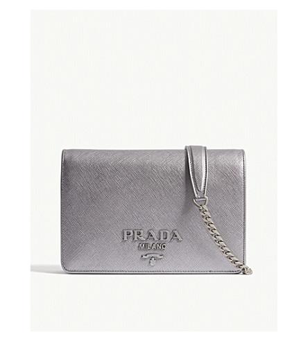 b0c8cf7e8e78 reduced lyst prada saffiano leather camera bag in gray a52f4 1f98d;  authentic prada saffiano leather shoulder bag silver edbd7 c033b