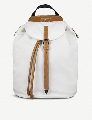 PRADA Buckled nylon and saffiano leather backpack